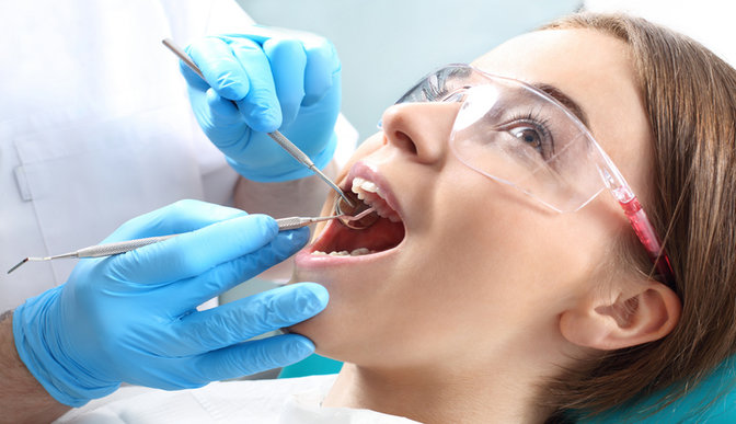 Child having a dental exam