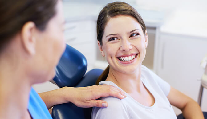 Woman smiling at Eden Prairie dentist