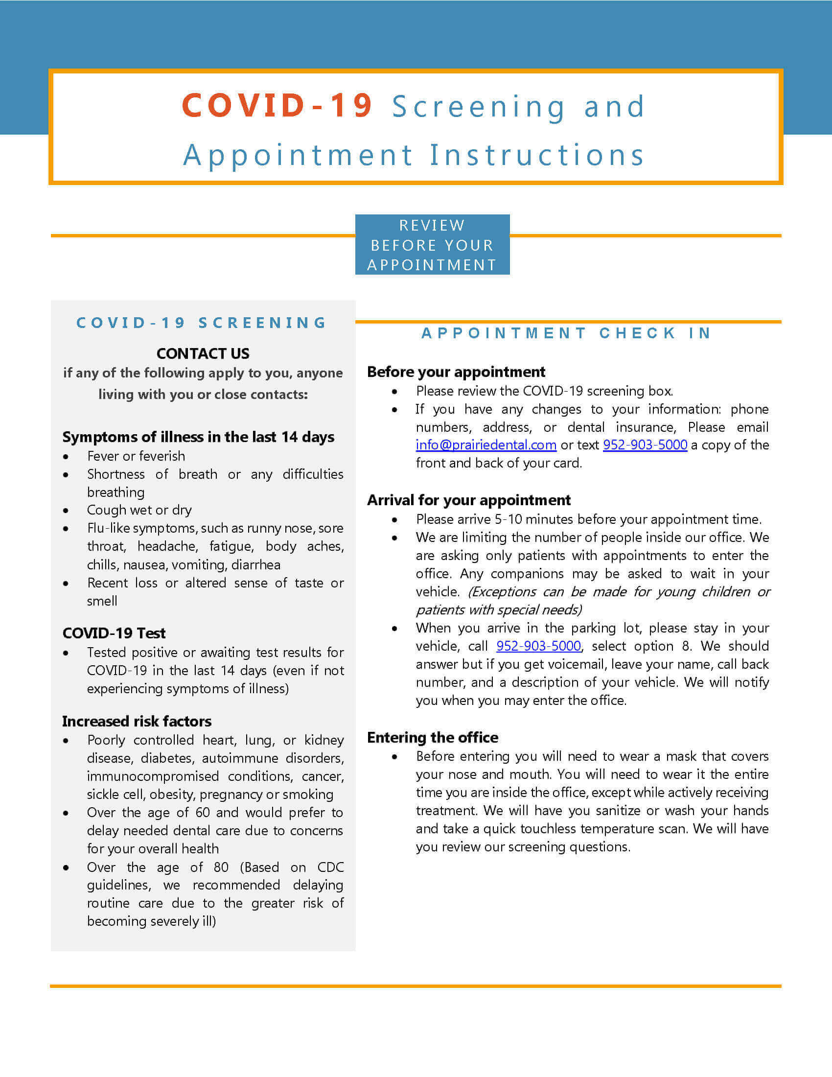 COVID-19 Screening and Appointment Instructions