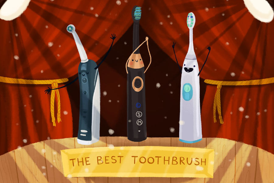 Cartoon with electric toothbrushes on podium in best toothbrush competition.