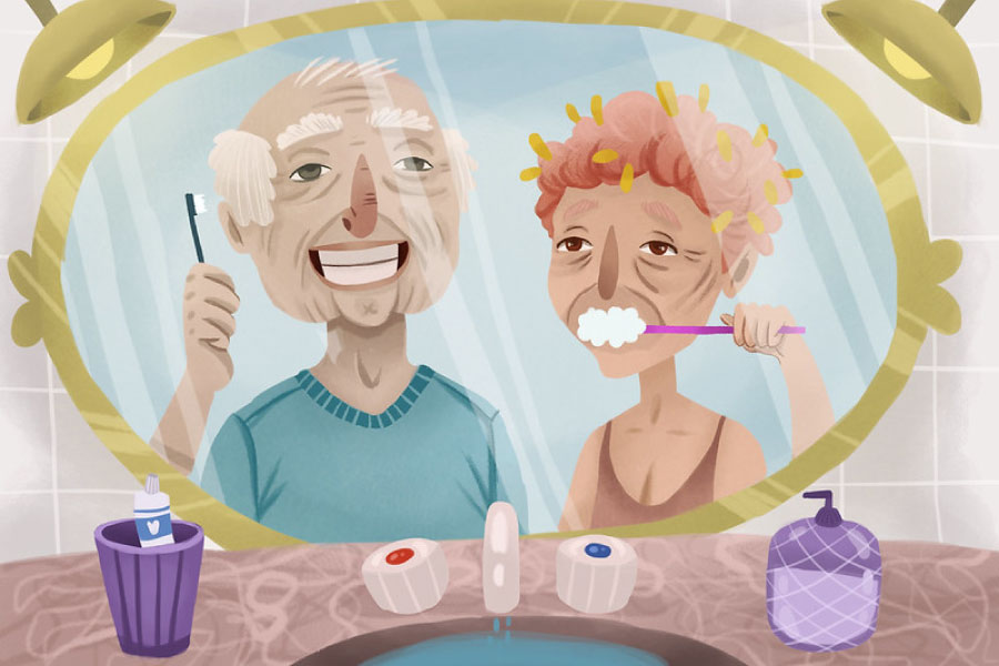 Cartoon of an elderly couple reflected in the mirror while brushing their teeth.